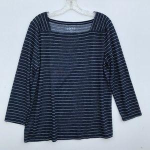 LOFT Striped Knit Square Neck LS Tee Shirt #1403